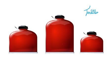 Set Tourist red gas bottles for Mobile kitchen. Portable 3d realistic mockup. Mini bottle, cooking in nature. Isolation on white background. Vector illustration design picnic, fishing, hunting. Eps10.