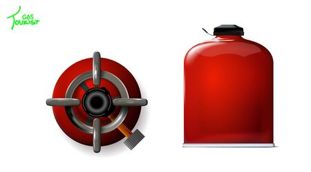 Set Tourist red gas bottles for Mobile kitchen. Portable 3d realistic mockup. With burner and without. Isolation on white background. Vector illustration design picnic, fishing, hunting. Eps10.