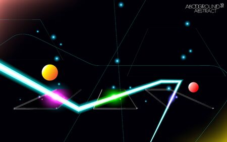 Minimalism multi-colored glass hi-tech abstract . Design glowing neon technology rgb double-glazed windows. Layout cover vector illustration. Lights night facades, panel .