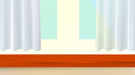 Wooden window sill, white frame and blue curtains. Background vector illustration. Eps 10.