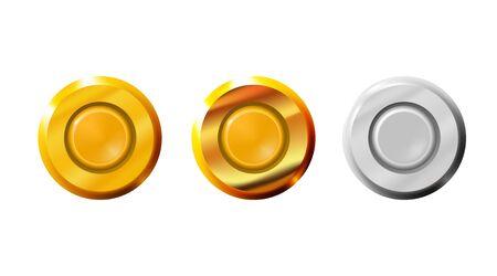 Setzen Sie die Kapsel aus Kugeln Symbol Gold und Silber. Waffenrand und Zündhütchen-Patronen für Kleinwaffen, Sockel. Schlagbolzen, der die Treibladungspatrone zündet. Isolierte Vektor-Illustration. Vektorgrafik