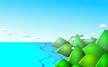 Coastal Mountain landscape marine or oceanic background. Morning at green peaks and blue sky. Vector illustration
