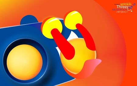 Abstract orange-red color background with blue personage, licking yellow balls. Modern trendy banner or poster design. Tasty 3d spheres, plastic yellow bubbles. Vector illustration. Eps 10.
