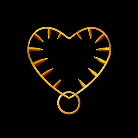 Goldener herzförmiger Rahmen oder Kragen, mit Stacheln. Goldschmuck auf schwarzem Hintergrund isoliert. Vektor-Illustration.