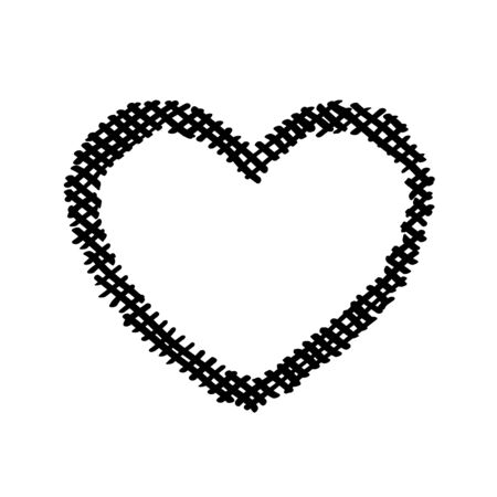 Scribble diagonal hatching criss cross, black heart shaped frame, symbol love for Valentines Day. Backdrop hand drawn image. Sketch shaded badges shape. Monochrome vector design. Isolated illustration Ilustração