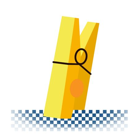 Wooden clothes pin in flat style on a white background. Vector illustration Eps 10. Vecteurs