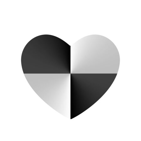 Monochrome Crash Test in Heart vector icon, Valentines day sign, symbol. Flat style design, logo circular gradient effect. Black, white minimalistic. Vector illustration isolated