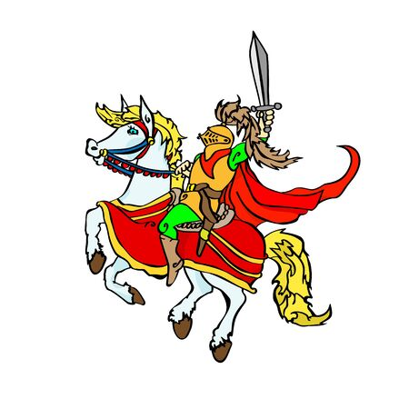 Jolly knight with a sword on a prancing horse. Sitting cartoon character in a red flowing cloak. Vector illustration