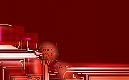Abstract Hi-tech composition electronic red background. Industrial printed circuit board variant concept. Vector technical art illustrations. Eps 10.