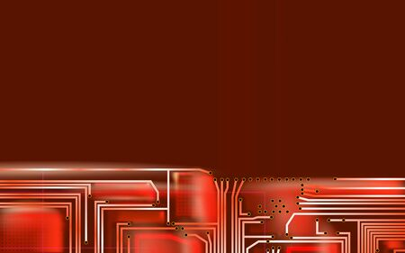 Abstract Hi-tech composition electronic red background. Industrial printed circuit board variant concept. Vector technical art illustrations. Eps 10. Çizim