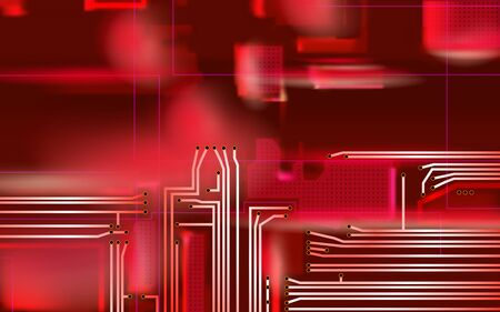 Abstract Hi-tech composition electronic red background. Industrial printed circuit board variant concept. Vector technical art illustrations.