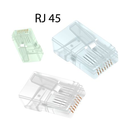 Close-up set rj-45 connectors isolated on white background. Vector illustration