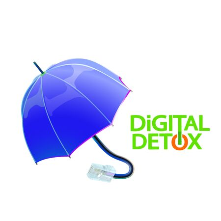 Digital detox and protecting the flow of information. Vector illustration. Umbrella with disconnected Internet plug. Eps 10. Illustration