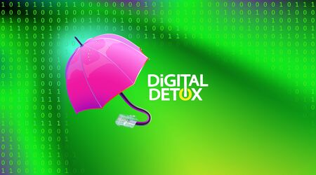 Green abstract background on the subject of digital detox and protecting the flow of information. Pink Umbrella with disconnected Internet plug. Vector illustration. Eps 10.