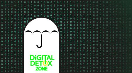 Black, white background on the subject of digital detox and protecting the flow of information. Protected by the umbrella, area. Vector illustration.