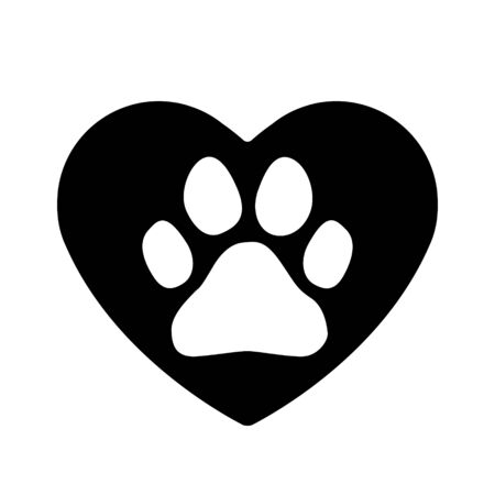 Paw dog or cat in heart icon. Footprint pet illustration. Vector animal trail.