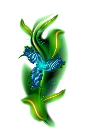 Modern glowing blue flower. Colorful cosmic floral element in white background. Beautiful trendy illuminated ornaments with decorative luxury glow for your design in vector illustration. esp 10