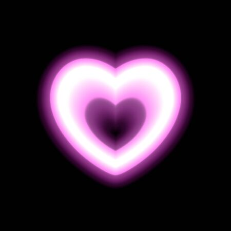 Heart contour neon or pink glow radiant effect of love with space for Valentines day. Decorative holiday design, night of romance concept love. Outline vector art illumination illustration. eps 10