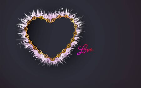 Gold frame heart shaped patterned of small hearts and white fluffy framed on a black background. The effect of the cut for design dark scrap booking, postcards. Jewelry. Vector illustration