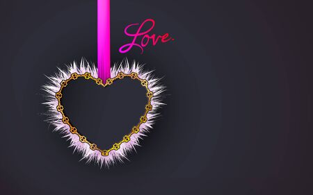 Gold frame heart shaped patterned of small hearts and silk pink ribbon on a black background. White fluffy object for design dark scrap booking, postcards. Jewelry. Vector illustration Illustration