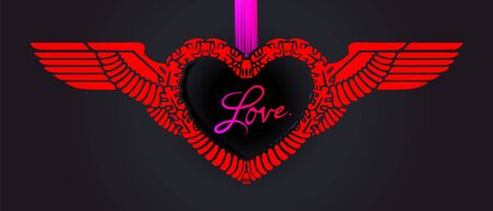 Heart for Valentines day based on the Aryan Romanesque heraldic pattern. Red frame with wings and silk pink ribbon on a black, dark background. Valentine design, postcard. Vector illustration