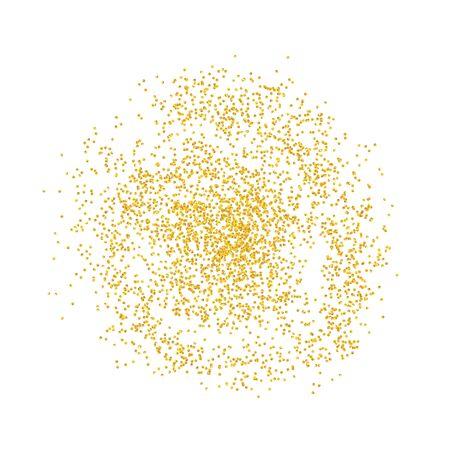 Kreishintergrund Goldene Texturkrümel. Goldstaub, der auf einem weißen Hintergrund zerstreut wird. Partikel Korn oder Sand zusammengebaut. Vektorscherben, Abstraktion der Stücke. Illustration Grunge-Texturen für Design. eps 10