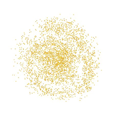 Circle backdrop Golden texture crumbs. Gold dust scattering on a white background. Particles grain or sand assembled. Vector shards, pieces abstraction. Illustration grunge textures for design. Eps 10 Illustration