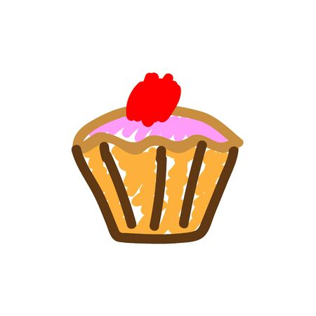 Cherry muffin in a deliberately childish style. Child drawing. Sketch imitation painting felt-tip pen or marker. Vector illustration Eps 10. Embellish print products. Stock Illustratie
