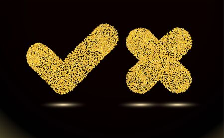 Checkmark and crosshair of texture crumbs, icons. Tick symbol ui element. Gold dust scattering on a black, dark background. Design, sand particles grain or sand. Pieces. Vector illustration. Eps 10.
