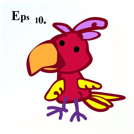 Red bird cartoon icon in a deliberately childish style. Vector illustration Eps 10.