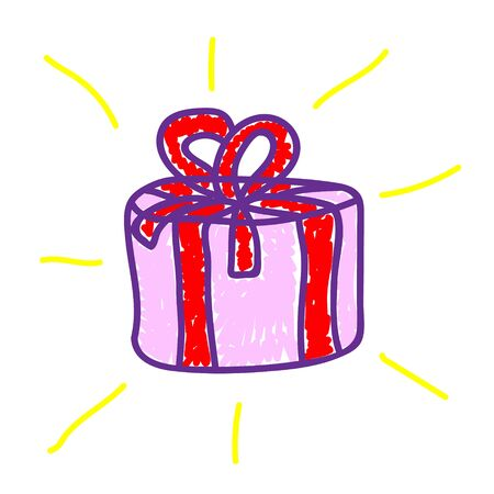 A box of cake in a deliberately childish style. Imitation child drawing. Kid sketch, painting felt-tip pen or marker. Kid painted handmade by birthday. Vector illustration Ilustracja