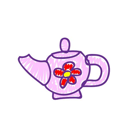 Pink teapot with red flower in a deliberately childish style. Imitation child drawing. Kid sketch, painting felt-tip pen or marker. Kid painted handmade by birthday. Vector illustration Eps 10. 向量圖像
