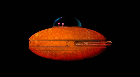 Cartoon 3d old ufo. Rusty spaceship isolated on white background. Aliens futuristic orange spacecraft side view. Invasion vector concept. Vector illustration.