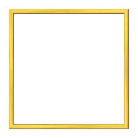 Yellow wooden frame. Isolated over white. Vintage simple decorative border, isolated. Deco elegant art object. Empty copy space for decoration, photo, banner. Vector illustration.