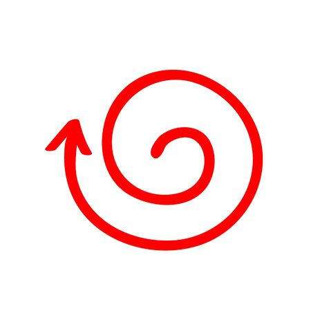 Red arrow vortex sign, from inside direction, and icon for website button helix. Business decoration isolated on light background. Vector illustration. Symbol -out, Eps 10.