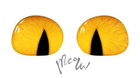 Orange cartoon cat eyes, 3d isolated on white background. Vector illustration Ilustracja