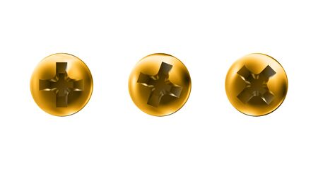 Set golden self-tapping screws, heads, gold caps. Twisted in surface screw isolated on white background. Macro polished objects top view, hats metalwares. Vector illustration Eps10.