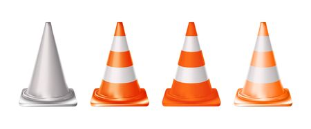 Set 3d orange realistic traffic cones with light and orange stripes isolated on white background. Vector illustration Eps 10.