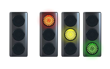 Realistic traffic light template, isolated on white background. Red, yellow, green lights. Go, wait and stop. Vector illustration Eps 10.