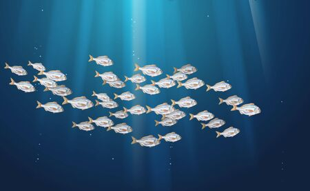 Dorado fishes blue background, marine life in schools. Atlantic ocean fish flock, simple water inhabitants. Seafood packaging and market. Vector illustration used in backdrop design. Banner Eps10. 向量圖像