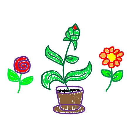 Set flowers in a deliberately childish style. Imitation child drawing. Kid sketch, painting felt-tip pen or marker. Kid painted, handmade craft isolated on white background. Vector illustration Eps10. 向量圖像