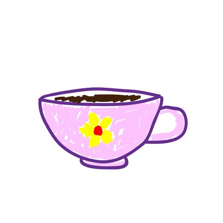 Pink tea cup with a picture of a flower in a deliberately childish style. Child drawing. Sketch imitation painting felt-tip pen or marker. Vector illustration Eps 10. Foto de archivo - 142866173