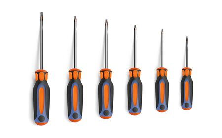 Set torx screwdrivers isolated on white background. Chrome objects top view. Vector illustration Eps 10.
