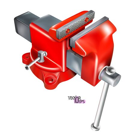 Realistic Heavy Duty bench vise on swivel base. 3D Metal red vice, metalwork tool isolated on white background. Vector illustration Eps 10.