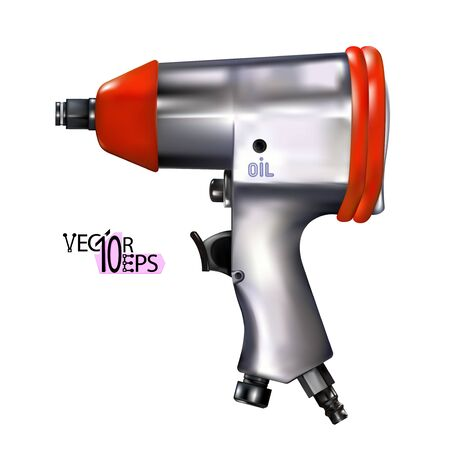 Realistic red pneumatic wrench isolated on white background. Auto Repair tool. Vector illustration Eps 10.