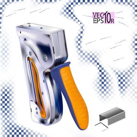 Metal stapler for construction work and staples for it. Tool isolated on white background. Vector illustration Eps 10. 向量圖像