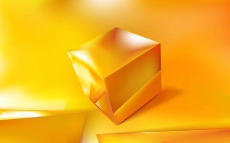 Realistic background glossy golden or yellow cube or box 3d and two pyramid. Reflection, macro template  illustration for design and branding. Gold closeup Eps 10.
