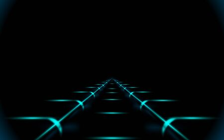 Glowing road into virtual reality or cyberspace, abstract minimal dark background. Concept art piece. Illustration. Future cyber metro railway on black.
