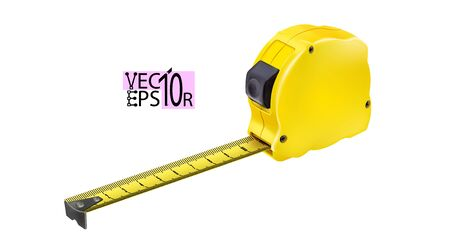 Realistic Tape measure isolated on white background. Photo-realistic roulette, construction tool for length measuring. Design case in yellow version. Vector illustration Eps 10. Çizim