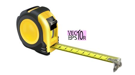 Realistic Tape measure isolated on white background. Photo-realistic roulette construction tool isometric. Length measuring. Design case in yellow-black version. Vector illustration Eps 10.